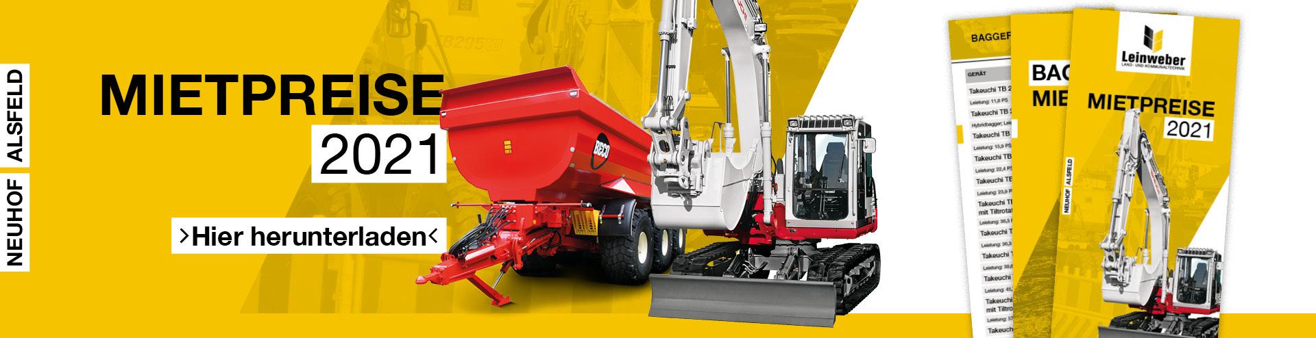 Mietpreisliste 2021 für Baumaschinen zum Download – Leinweber Landtechnik in Neuhof & Alsfeld